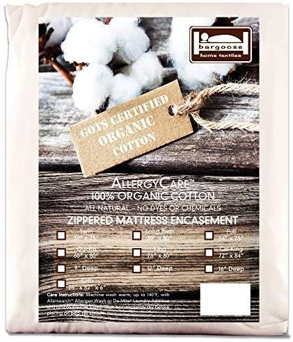 Bargoose AllergyCare Organic Cotton Allergen Barrier Zippered Mattress Encasement, 100% Organic Cotton, Hypoallergenic, Chemical Free, Blocks Dust Mites & Other Allergens (12