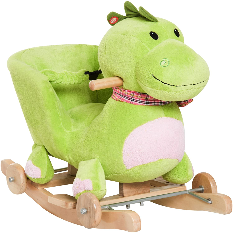 Qaba Kids Interactive 2-in-1 Plush Ride-On Stroller Rocking Dinosaur with Nursery Song