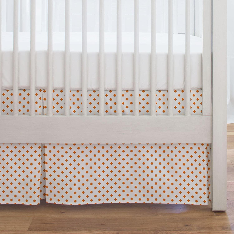 Carousel Designs Orange Mini Swiss Cross Crib Skirt Single-Pleat 17-Inch Length - Organic 100% Cotton Crib Skirt - Made in The USA