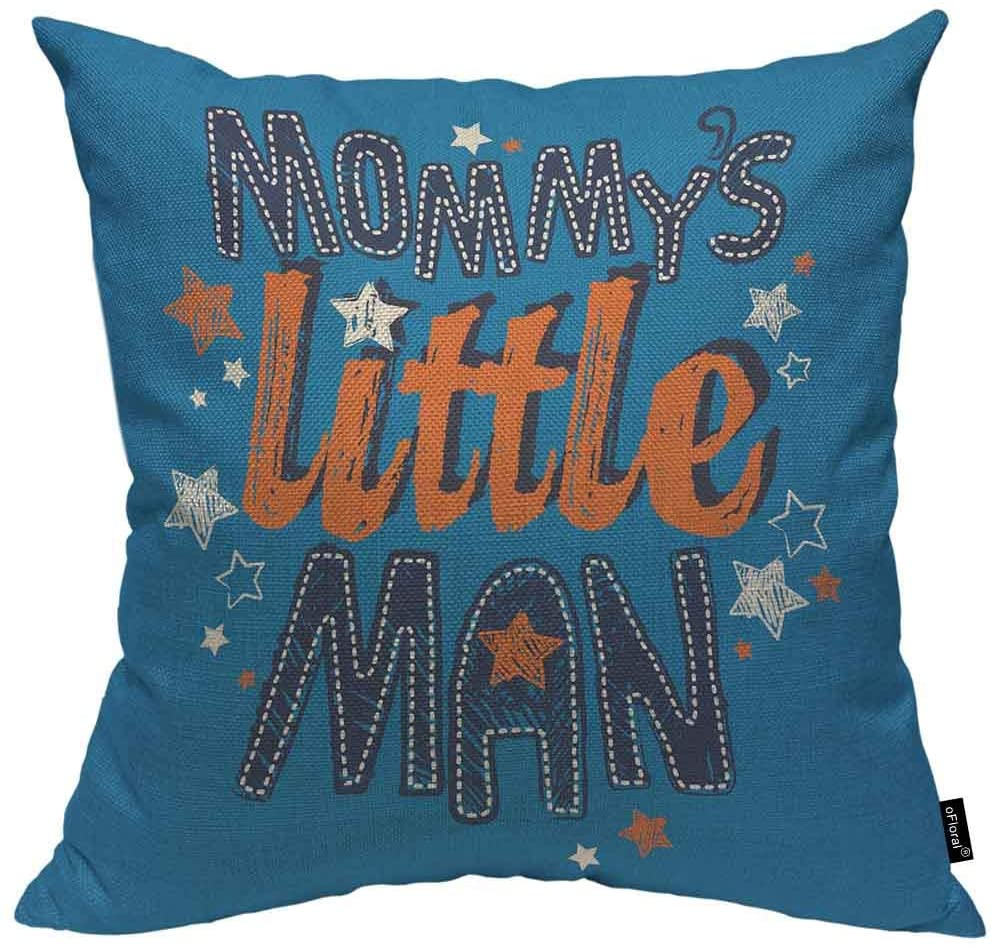 oFloral Mommy's Little Man Pillow Covers 16x16 Babytoddleryouth Boys Decorative Waist Throw Pillows Home Decorations