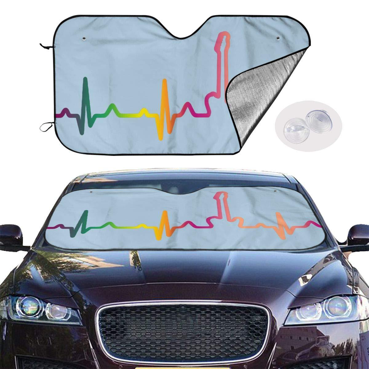 Bass Guitar Player Hearbeat Front Car Windshield Sun Shade Window Windscreen Cover Uv Reflector Keep Vehicle Cool 70x130cm