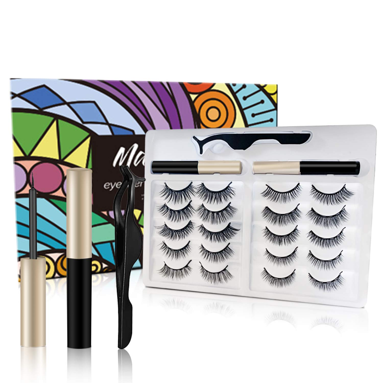 Upgraded 10 Pairs Magnetic Eyelashes Kit with Double Eyeliners, Reusable 3D Magnetic Faux Mink Eye Lashes set with Tweezers Two Long Lasting Waterproof Eyeliners For Women