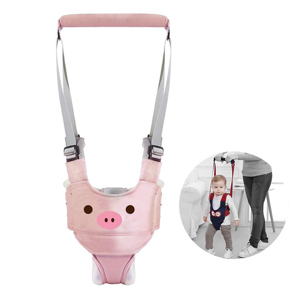 Handheld Baby Walker Assistant Belt Adjustable Detachable Walking Harness Protective Belt for Kids Infant Toddlers (Pink)