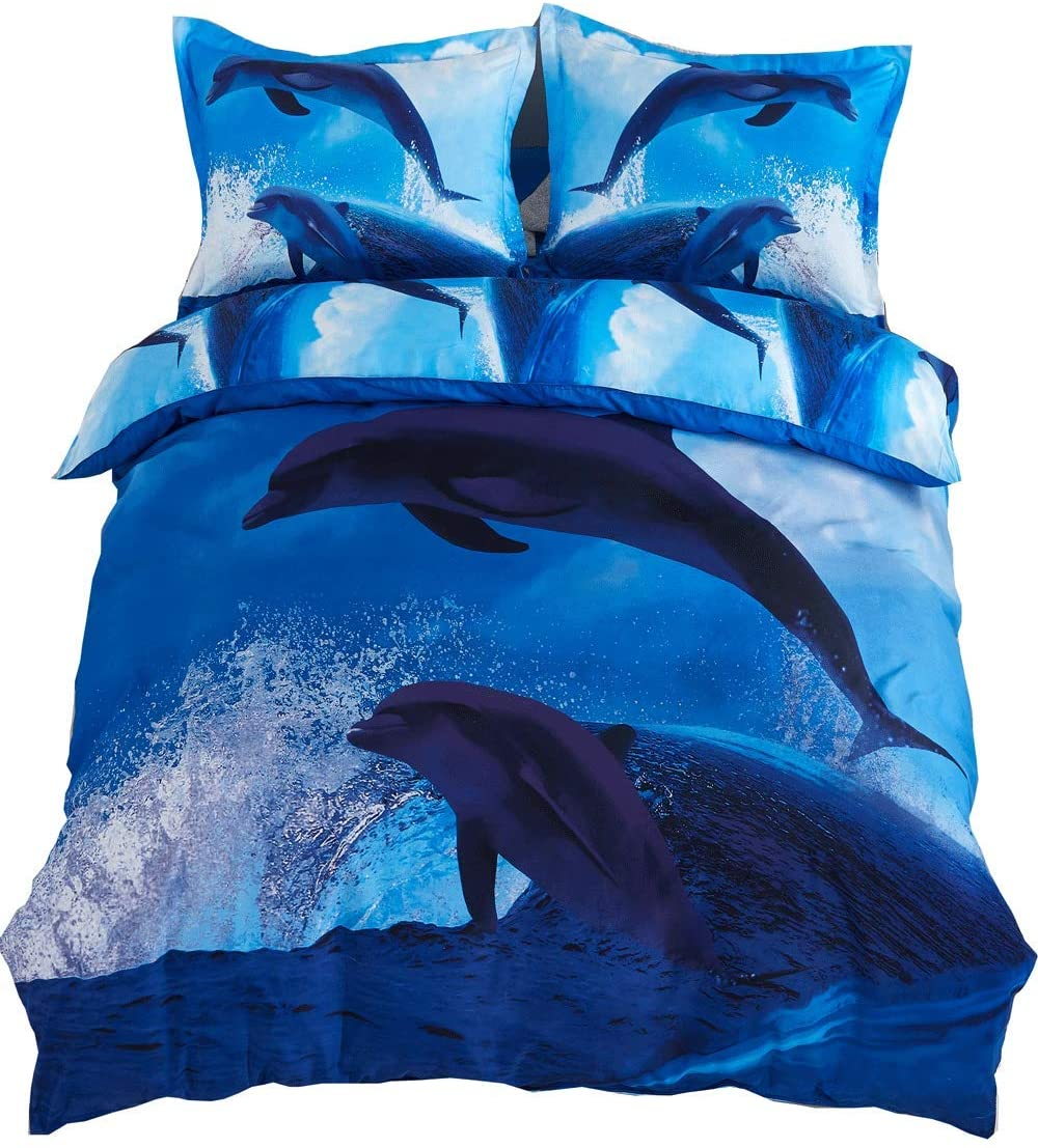 ENCOFT Cozyvie Dolphins Jumping Out of Blue Water Print Polyester 3D Bedding Set with Duvet Cover,Flat Sheet and Pillowcases,Twin/Full/Queen Size,Blue,No Comforter (Extra Long Twin)