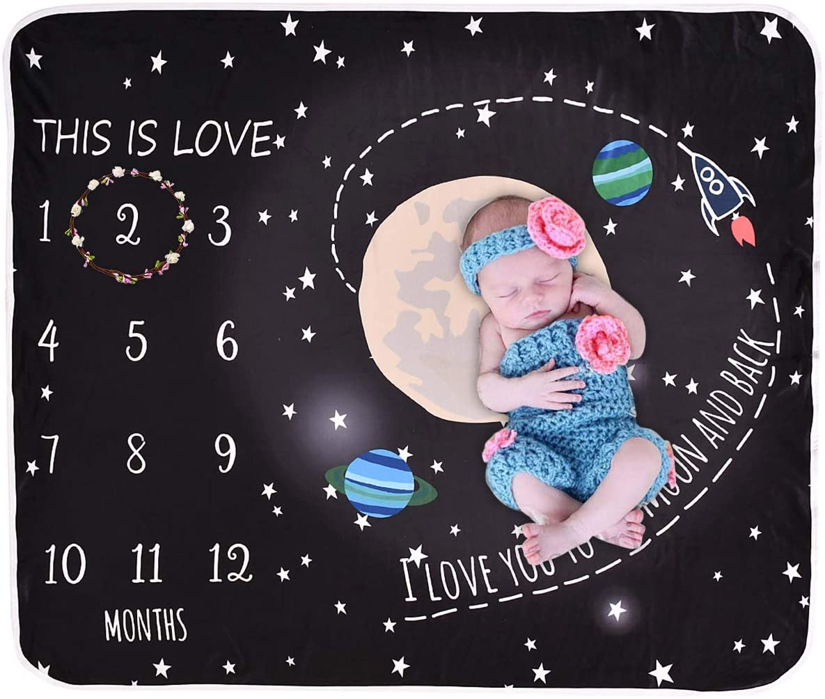 Yuehuam Baby Monthly Milestone Blanket for Baby Boy and Girl,Cute Space Design Newborn Month Blanket Personalized Shower Gifts 1-12 Month Newborn Baby Photo Blanket Swaddle Wrap