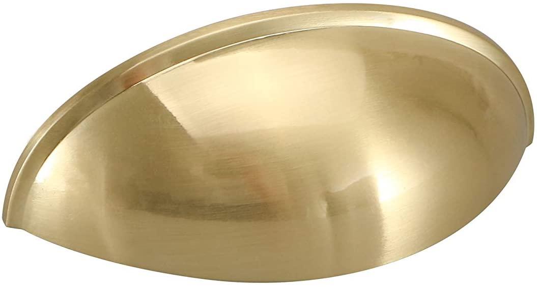 goldenwarm Brushed Brass Cabinet Pulls Bin Cup Drawer Handle - LS0313BB76 Modern Hardware for Drawer Dresser 3