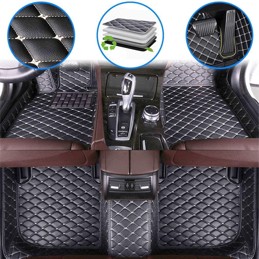 WANLING Car Custom Floor Mats for Ford Escape 2013-2018 Luxury Leather Waterproof Non-Slip Full Coverage Floor Liner/Full Set (Black Beige)