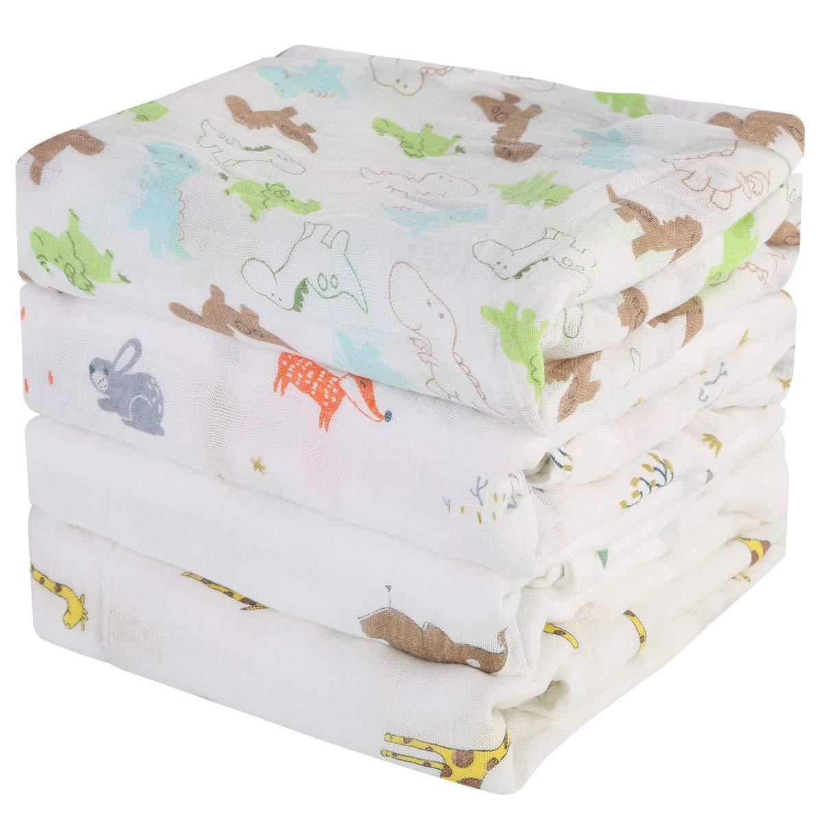 4PC Baby Swaddle Blanket Cartoon Animal Print Newborn Soft Receiving Blanket Wrap Multifunctional Baby Bath Towel for Boys Girls