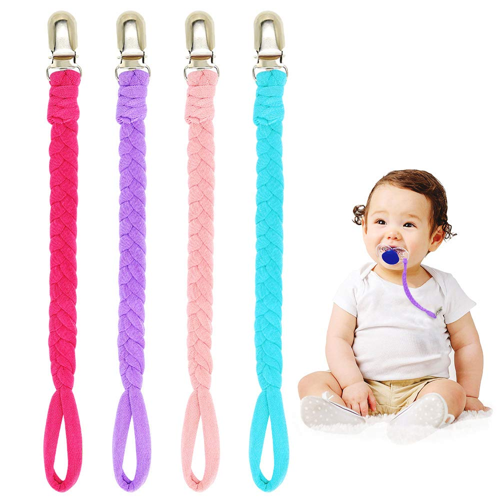 Newborn Pacifier Clips Girl, 4 Pack Baby Pacifier Holder, Retractable Paci Clips Bibs,Teething Toy or Soothie(Pink/Blue/Rose Red/Purple)