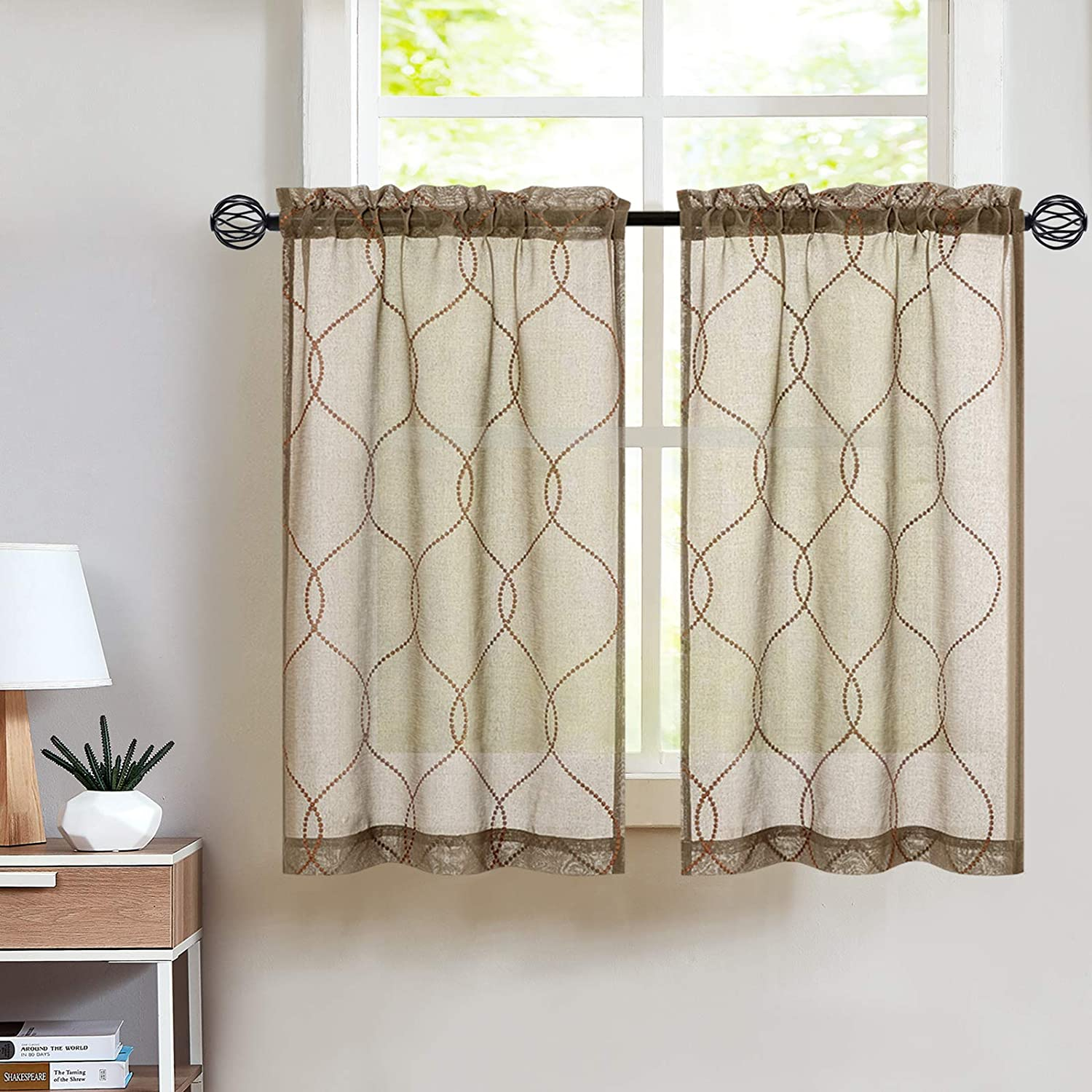 Embroidery Kitchen Curtain Sets 3 Pcs Moroccan Trellis Pattern Embroidered Semi Sheer Kitchen Tier Curtains and Valance Set 36 inch for Bathroom, Taupe