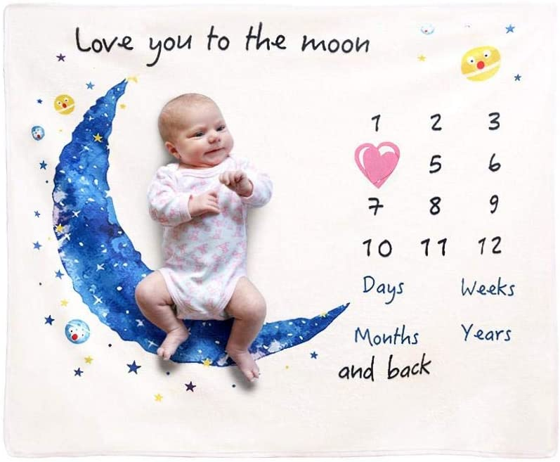 Baby Milestone Blanket Super Soft Printing Flannel Blanket Baby Photography Props