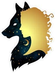 Gold Woman and Space Wolf Silhouettes - Pack of 4 - StickerVinyl Waterproof Sticker Decal Car Laptop Wall Window Bumper Sticker