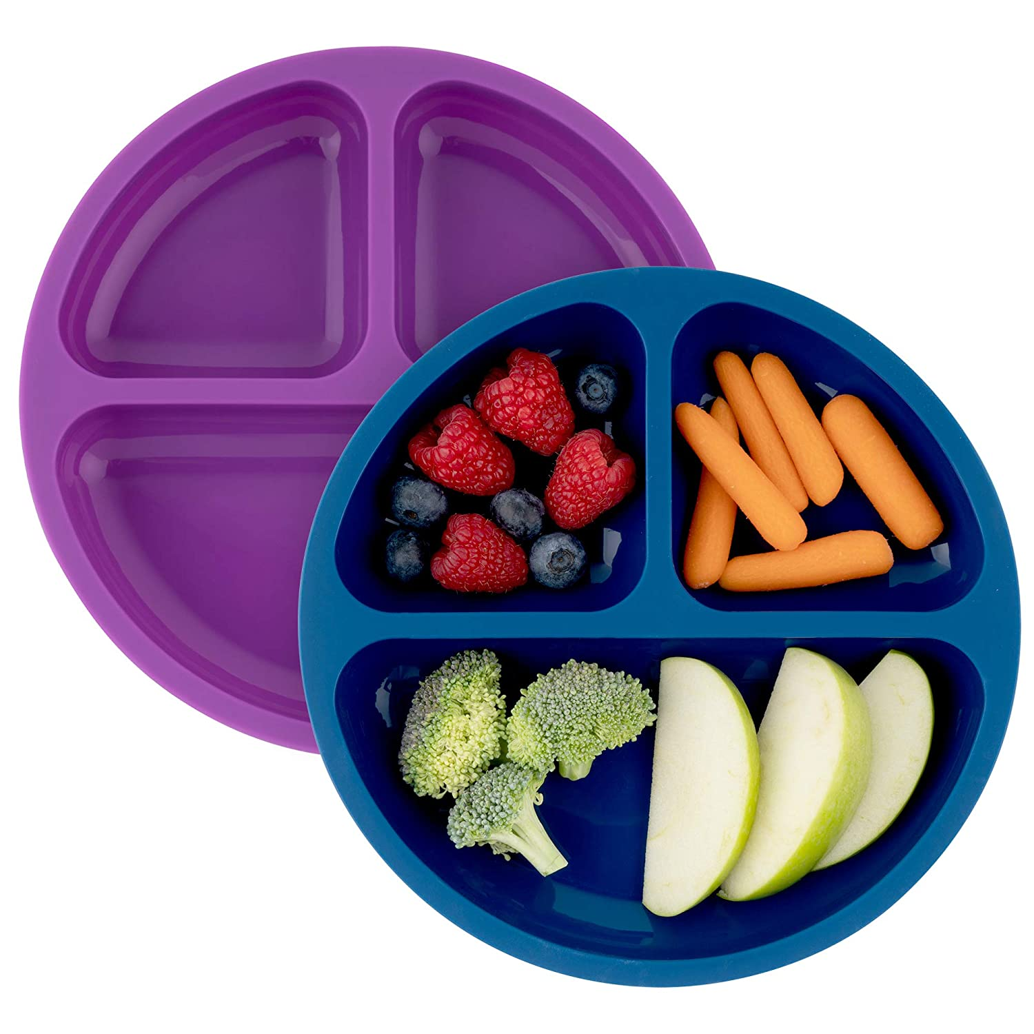 Table-Tot 3-Compartment Plate for Kids, Baby-Safe Silicone Plates for Toddlers (Dark Blue and Grape)