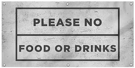 CGSignLab |Please No Food or Drinks -Basic Gray Wind-Resistant Outdoor Mesh Vinyl Banner | 4x2