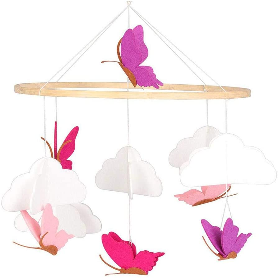 Baby Crib Mobile Butterfly in The White Clouds, Butterfly Hanging Nursery Decoration for Baby Bed, Rotate Hanging Felt Butterfly Mobile Crib Decorative Toys for 1-2 Years Old Baby Toddlers