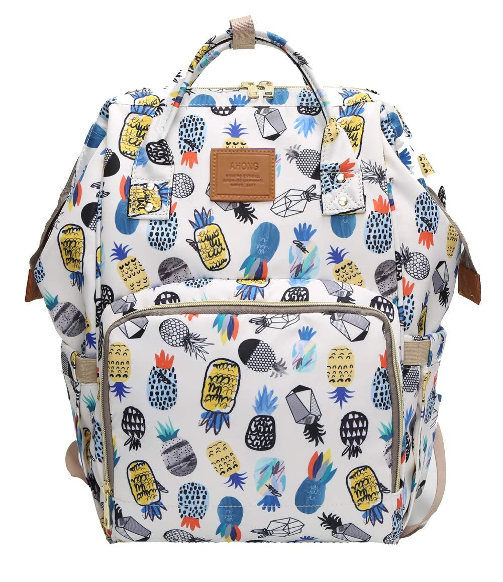 Waterproof Wide Open Design Baby Diaper Bag Backpack-Pineapples Print