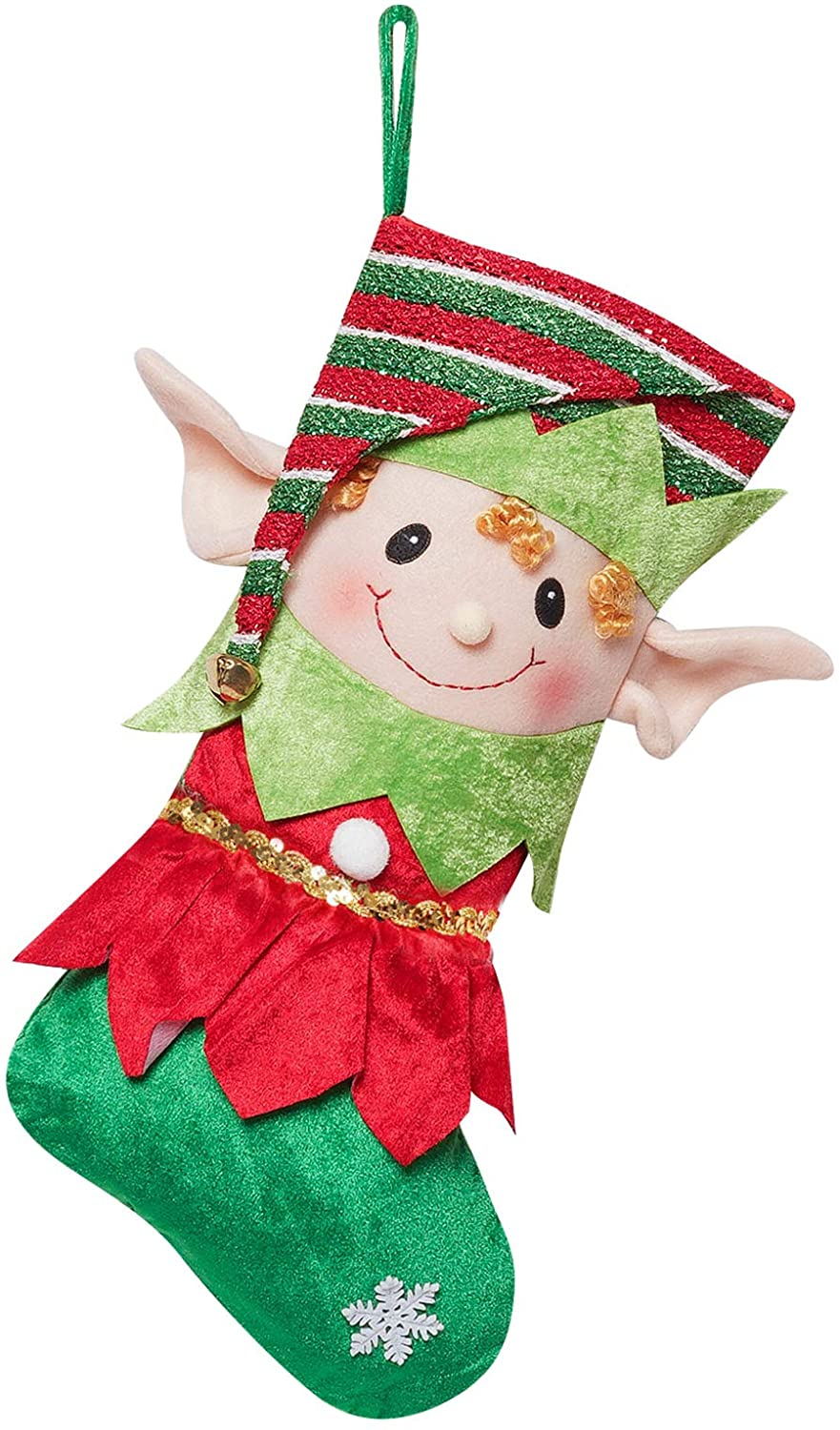 ALLYORS Christmas Elf Stockings with Delightful Pointy Ears and Tunic Red Green Dress, Baby Elves Hanging Ornaments for Xmas Themed Home Decoration, Festive Gifts Bags on Shelf and Party Supplies