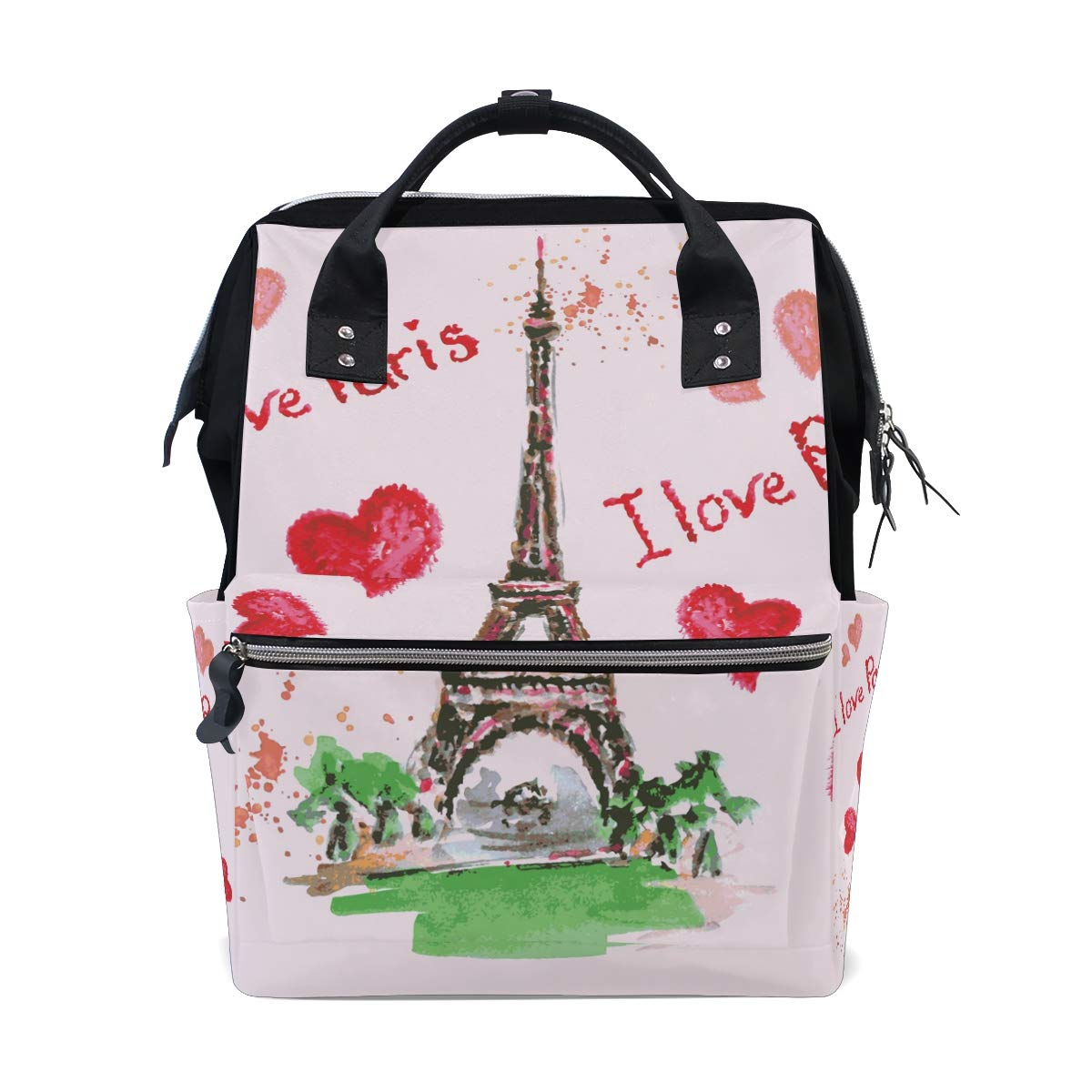 MERRYSUGAR Diaper Bag Backpack Travel Bag Large Multifunction Waterproof Cute Heart Paris Eiffel Tower Stylish and Durable Nappy Bag for Baby Care School Backpack