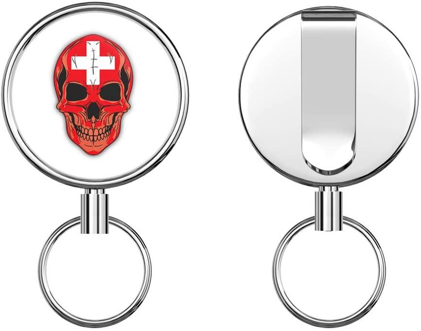 Skull Flag Switzerland Retractable Badge Holder Reel Metal ID Badge Holder with Belt Clip Key Ring for Name Card Keychain