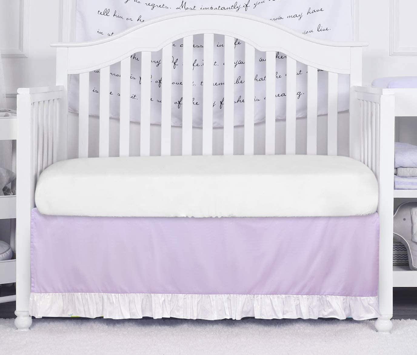 Brandream Baby Girls Crib Skirt Purple Dust Ruffle Nursery Bed Skirt for Newborn Infant Baby Bedding, 100% Natural Cotton Luxury Princess Cradle Bedding Crib Skirt with White Ruffle 16 inch Drop