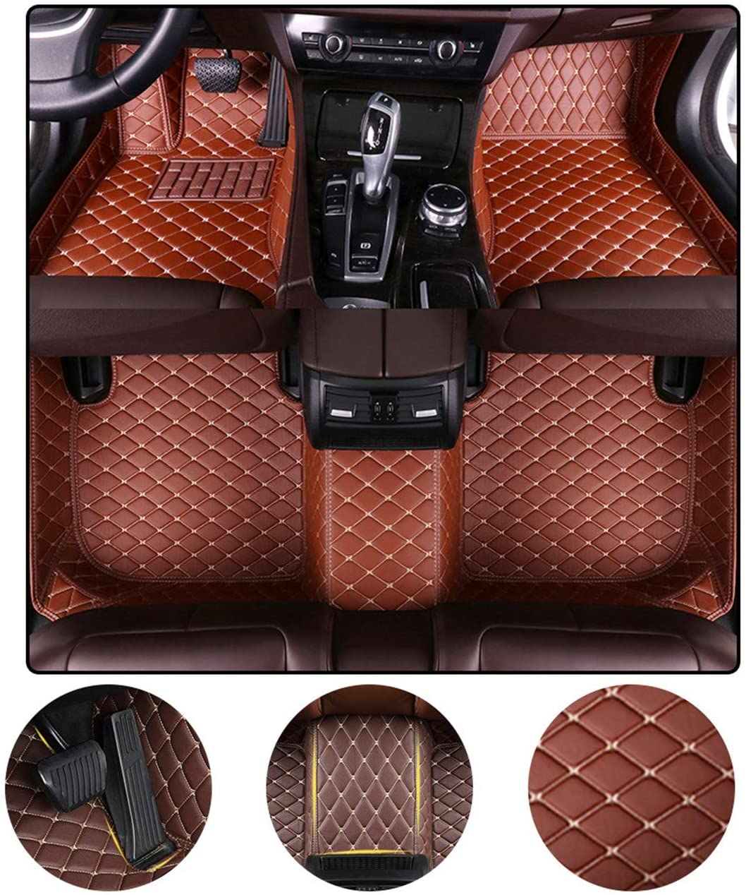Muchkey Custom Car Floor Mats for Chevrolet Suburban 7-seat 2007-2014 All Weather Non-Slip Full Coverage Protection Luxury Leather Car Liner Set Brown