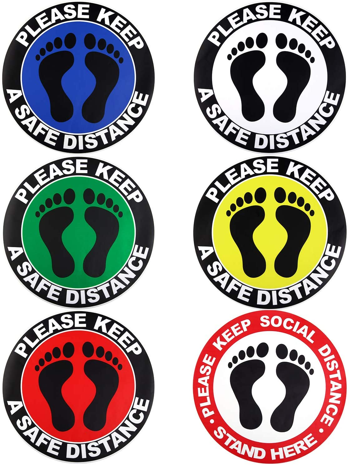 Elcoho 6 Pieces Social Distancing Floor Stickers Circle Social Distancing Ground Markers for Crowd Grocery, Bank, and Lab Stand, 12 Inches