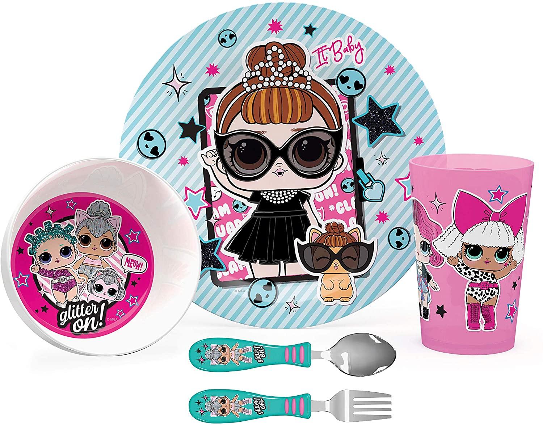Zak Designs L.O.L Surprise Dinnerware, Plate-Bowl-Tumbler-Flatware Set (5pc)