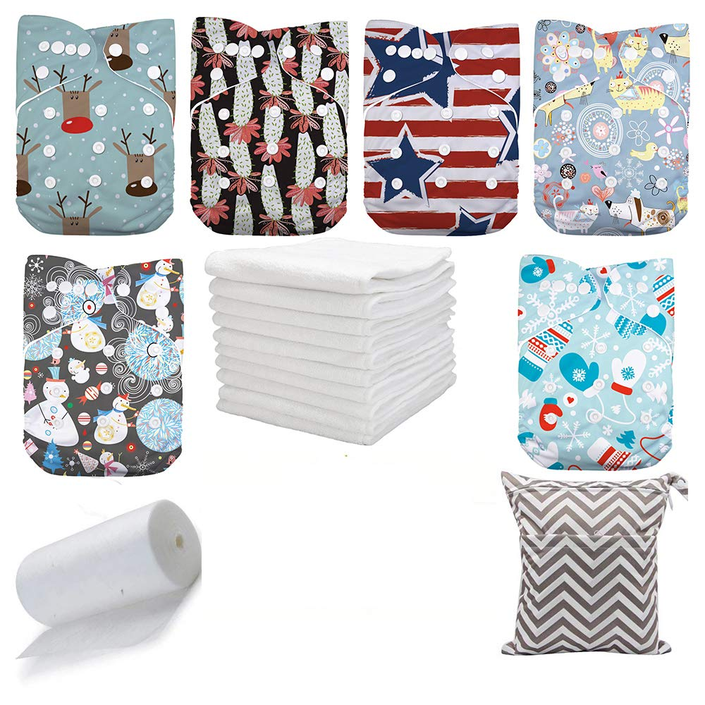 DoDo Bear Washable Reusable Pocket Baby Cloth Diapers , 6pcs Cloth Diapers+6 Inserts +1 Wet Bag +1 Roll Liners (color3)
