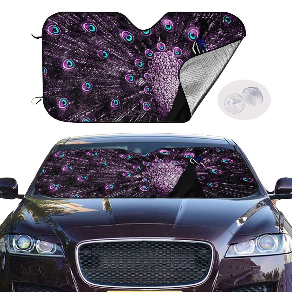 Wonderful Purple Peacock Car Sunshade Window Windscreen Cover,Automotive Window Protector Sunshade Uv Sun and Heat Reflector for Car Truck SUV,Keep Your Vehicle Cool and Damage Free