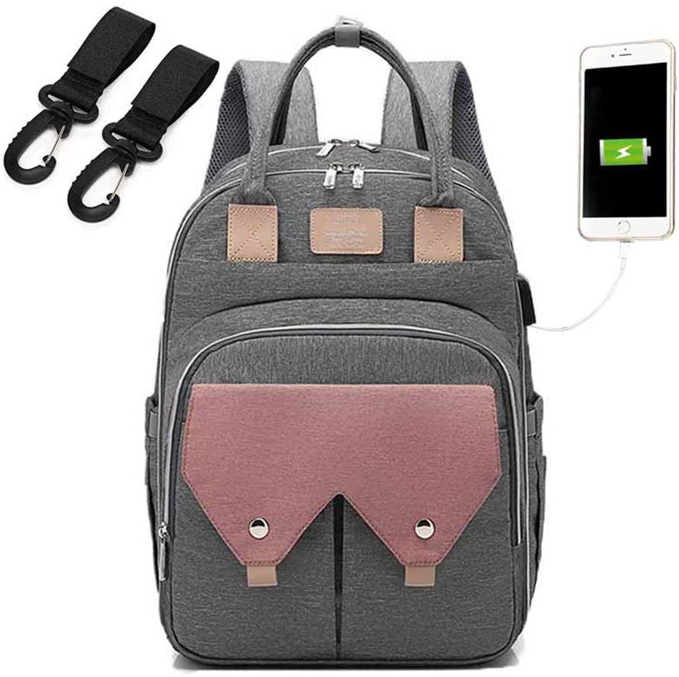 YU-NIYUT Mummy Nappy Diaper Bag Large Capacity USB Maternity Baby Care Nursing Backpack with Stroller Kit