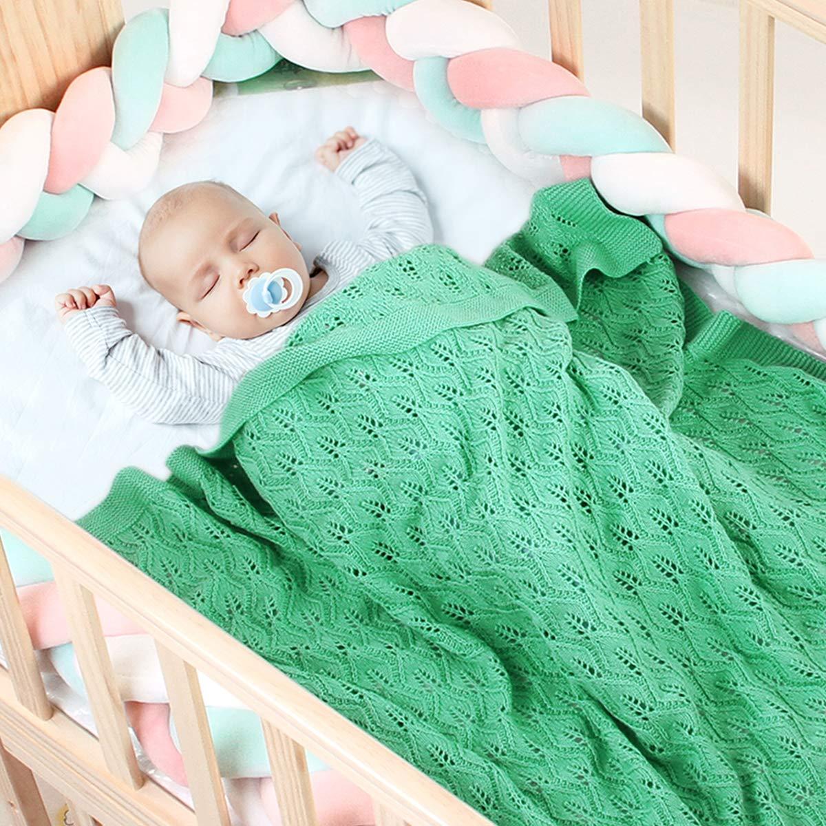 Owlike Newborn Baby Boys Girls Blanket Hollow-Out Leaves Knitted Swaddle Blanket,Toddler Knitted Crochet Throw Blanket -Grape Green