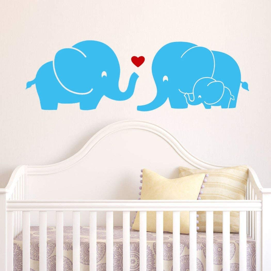 1 Piece Kids Blue Red Elephant Wall Decal, Animal Themed Wall Stickers Peel Stick, Cute Safari Africa Heart Love Trunk Baby Adorable Decorative Mural Art, Vinyl