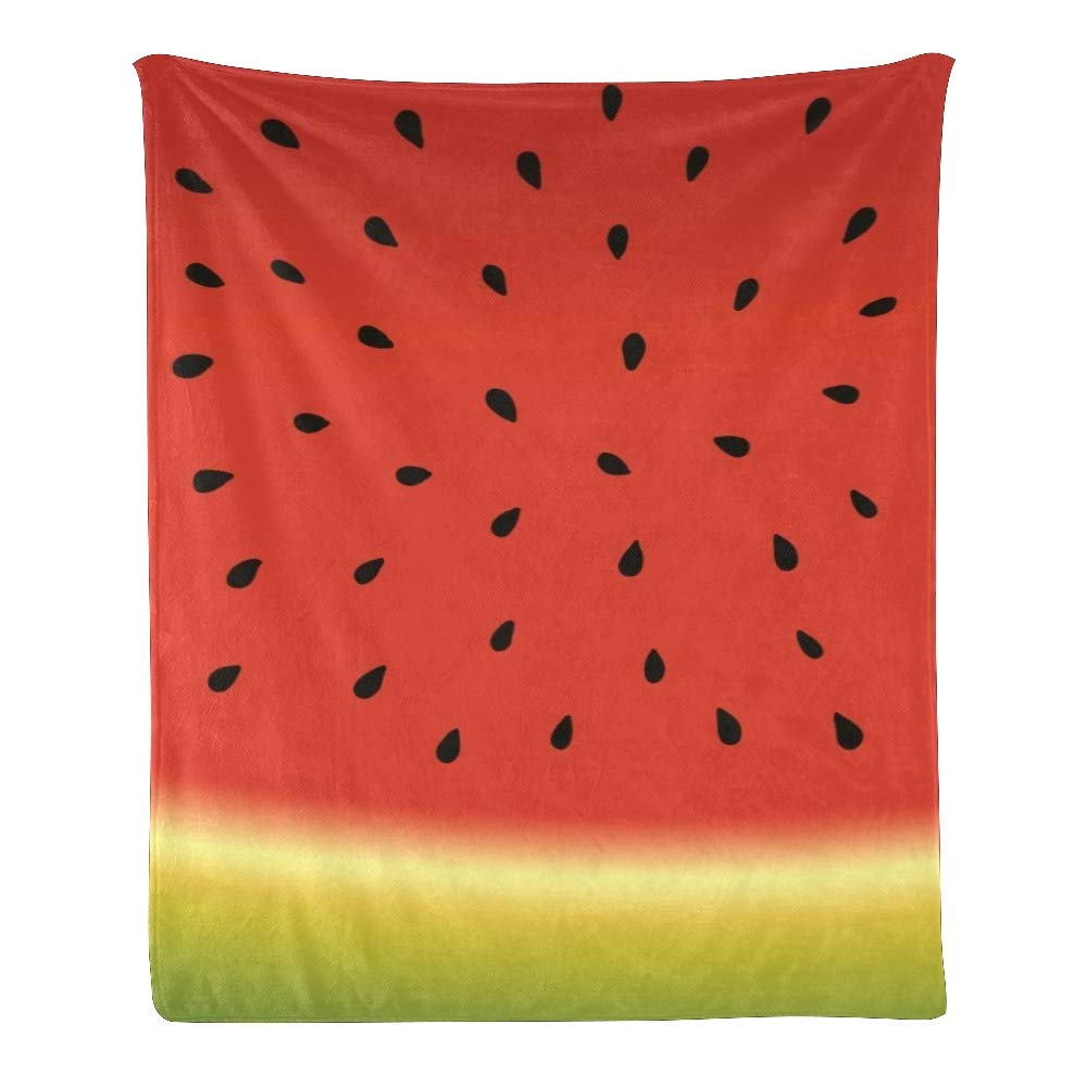 Personalized Kids Fleece Blanket Custom Watermelon Background Vector illustrationBaby Throw Blanket for Bed (30 x 40 inches)