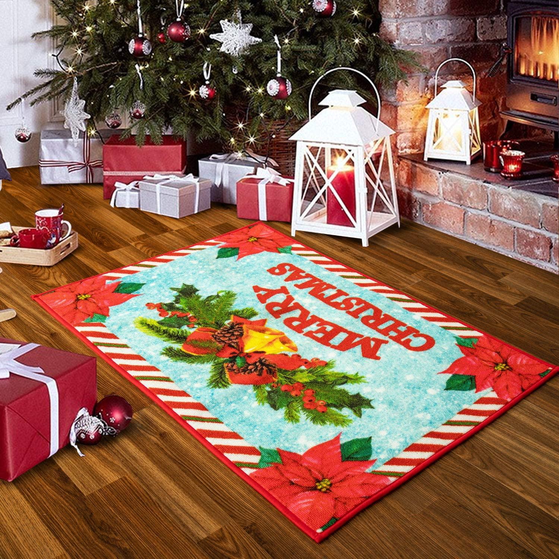 Quenlife Christmas Rug Holiday Décor Non Slip Door Mat Front Door Inside Floor Mat Doormats Entrance Rug, Indoor/Outdoor Rug, for Kitchen Living Room Bedroom Bathroom, 3' x 5', Red