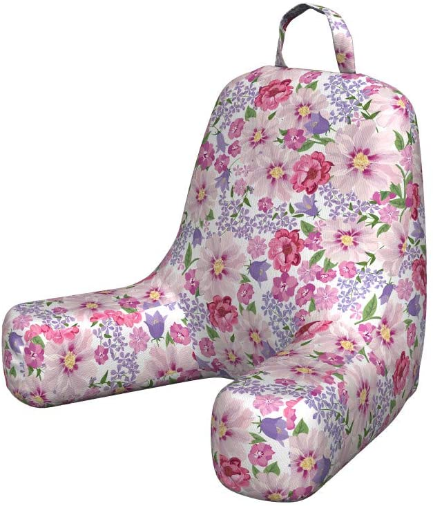 Lunarable Flower Foam Reading Pillow, Floral Seamless Texture with Flowers Lavenders Spring Freshness Garden Image, Shredded Visco Bedrest with Washable Cover and Pocket, Small, Pink and Lilac