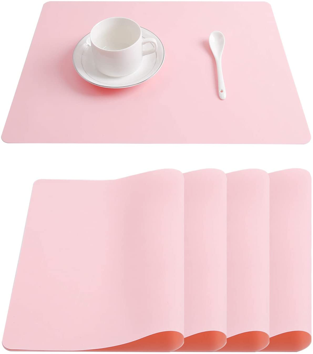 Topfinel Silicone Placemats Set of 4 Heat Resistant Non-Slip Table Mats for Kids Kitchen Dining Table Wipeable Waterproof 12 x 16 Inch, Pink