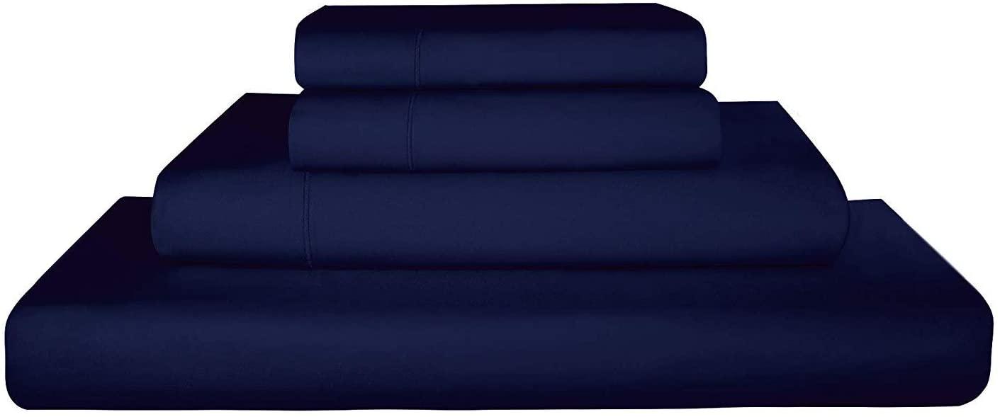 Indiana Linen 600-Thread-Count 100% Cotton Sheet Navy Blue California-King 4-Piece Sheets Set Long-Staple Egyptian Cotton Best-Bedding Sheets for Bed Fits Mattress Upto 15'' Deep Pocket