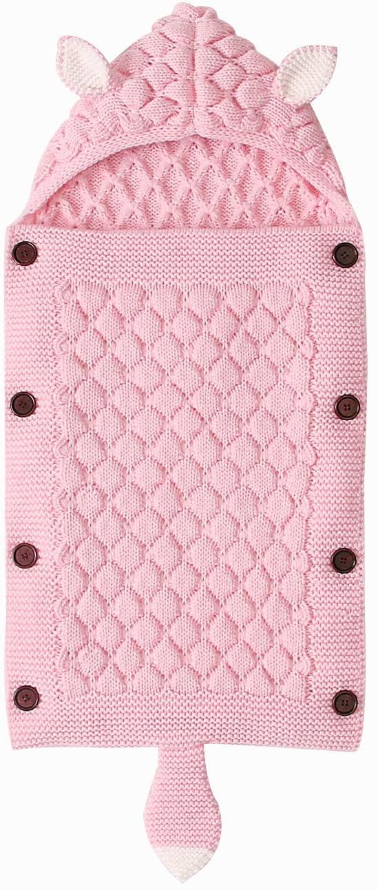 EQUICK Newborn Baby Wrap Swaddle Blanket Fox Design Knit Sleeping Bag Receiving Blankets Stroller Wrap for Baby Boys Girls (0-6 Month) Light Pink