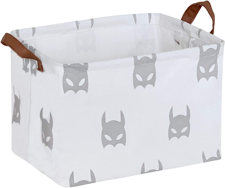 CLOCOR Rectangular Storage Basket,Collapsible Cute Pattern Storage Bin,Waterproof Coating Storage Box with Handles for Home Organization,Toy Organizer,Shelf Basket (Grey Bats)