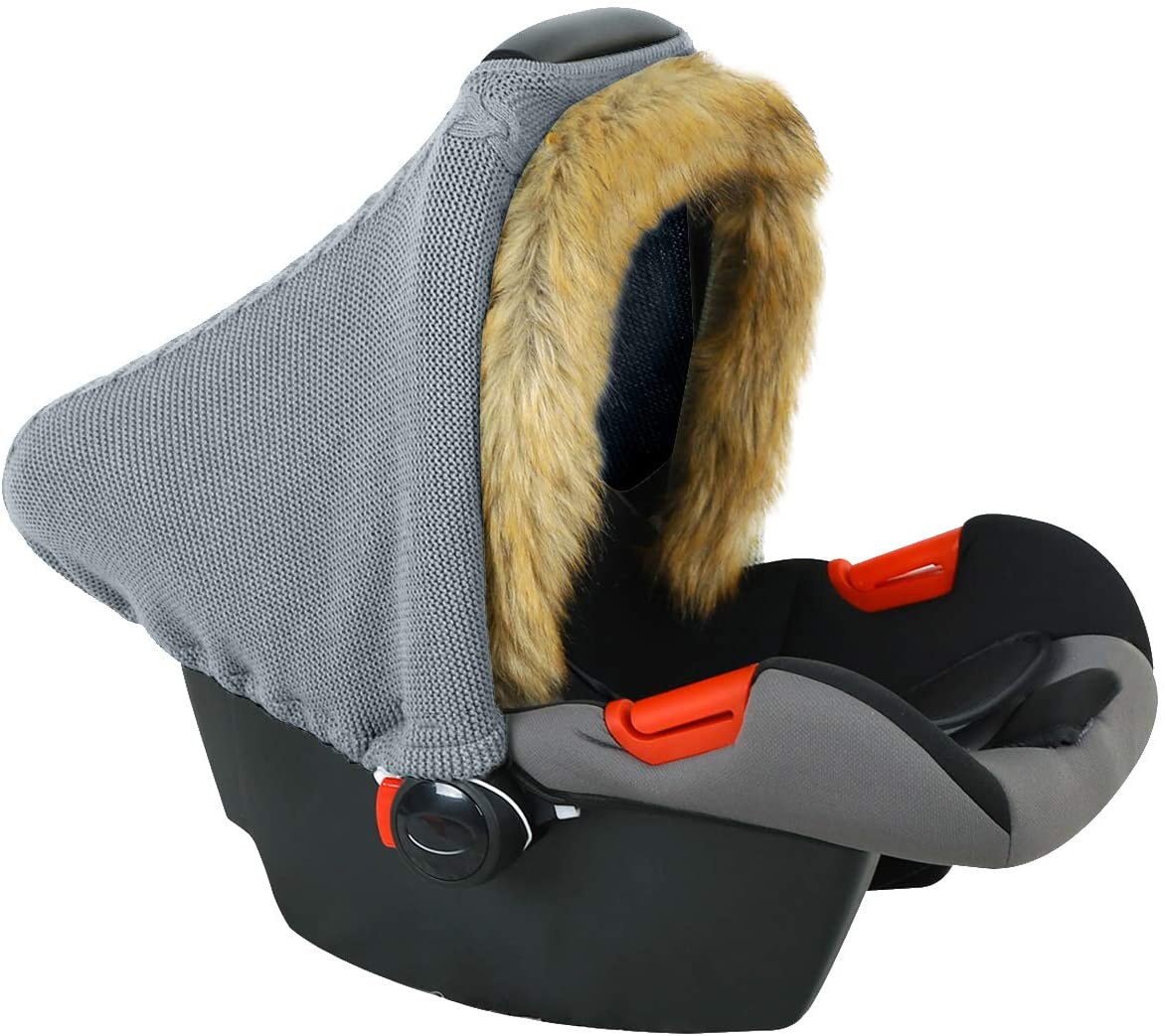 NCONCO Baby Car Seat Cover with Faux Fur Hem Knitted Stretchy Infant Stroller Cover Baby Carseat Canopy