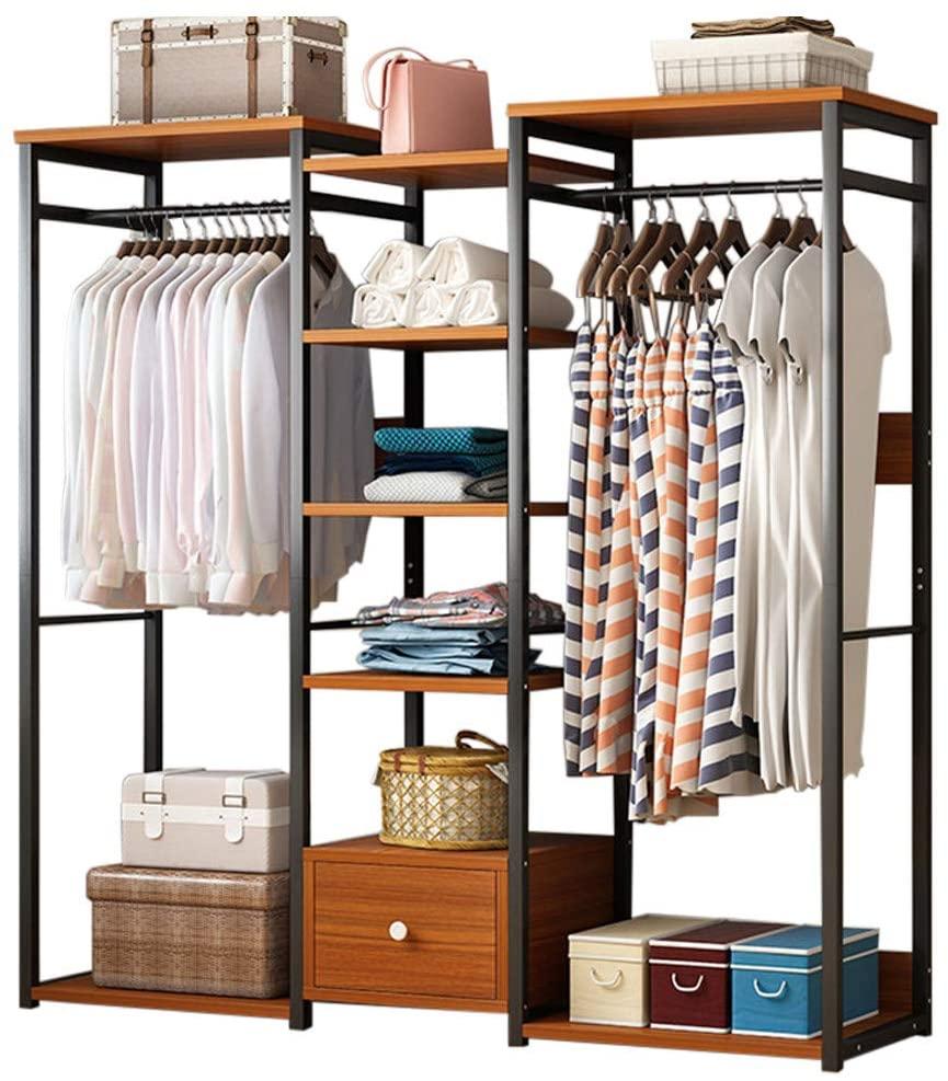 Coat Rack with Shoe Storage,Hall Tree Drying Rack Room Vertical Bag Hanger Clothes Rack 5-Tier Storage Shelves Drawer Bedroom Organizer Furniture (Brown)