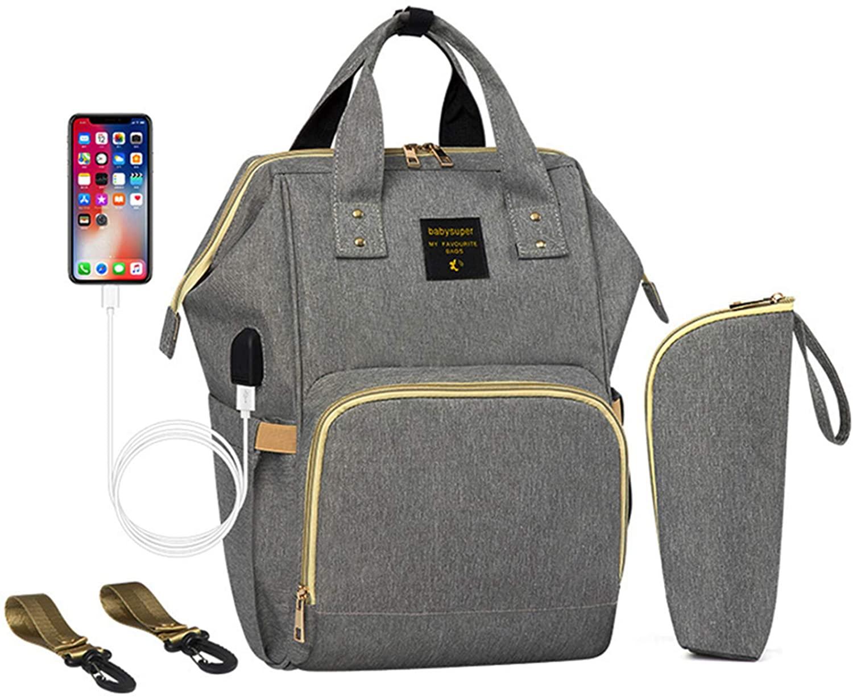 Women Baby Diaper Backpack Large-Capacity Tote Huge Bags USB Charging Port