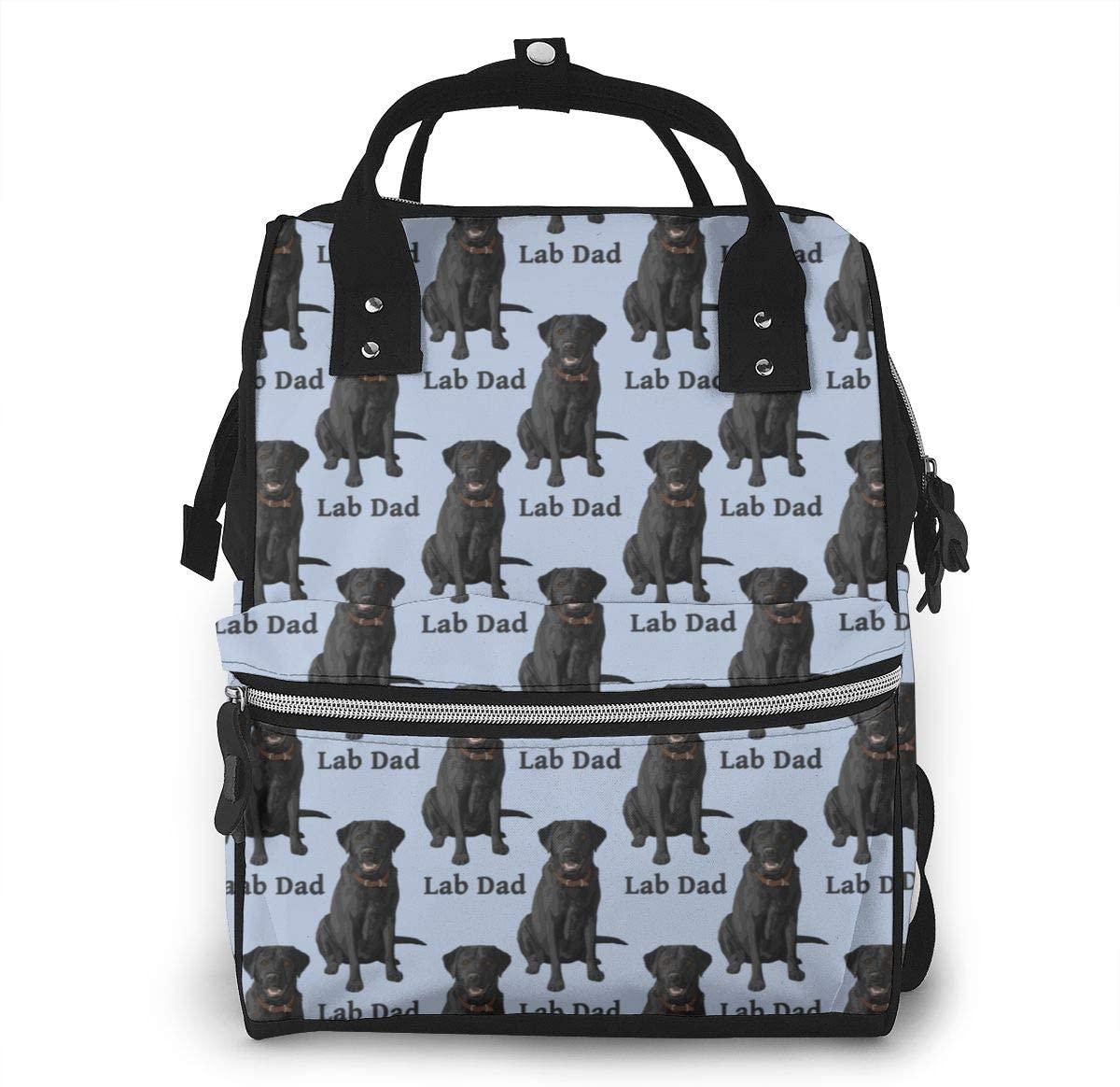 NiYoung Women Casual Zippers Large Capacity Backpack Mummy Bag Swim Diapers,Lab Dad Black Labrador Retriever Dog