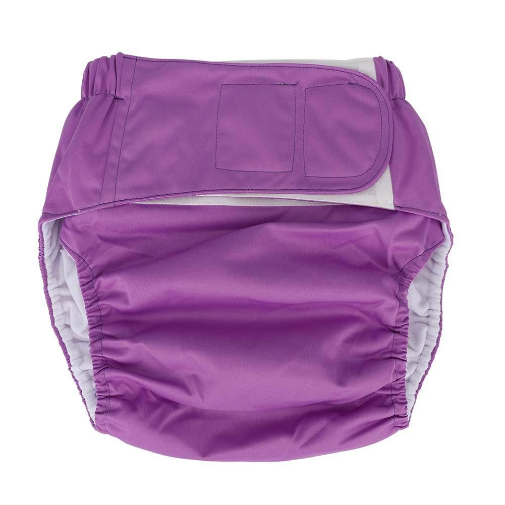 Adult Cloth Diaper, Waterproof & Reusable Elderly Incontinence Protection Nappies Underwear with Maximum Absorbency for Men or Women, Waist: 19.7-49.9inch(Purple)