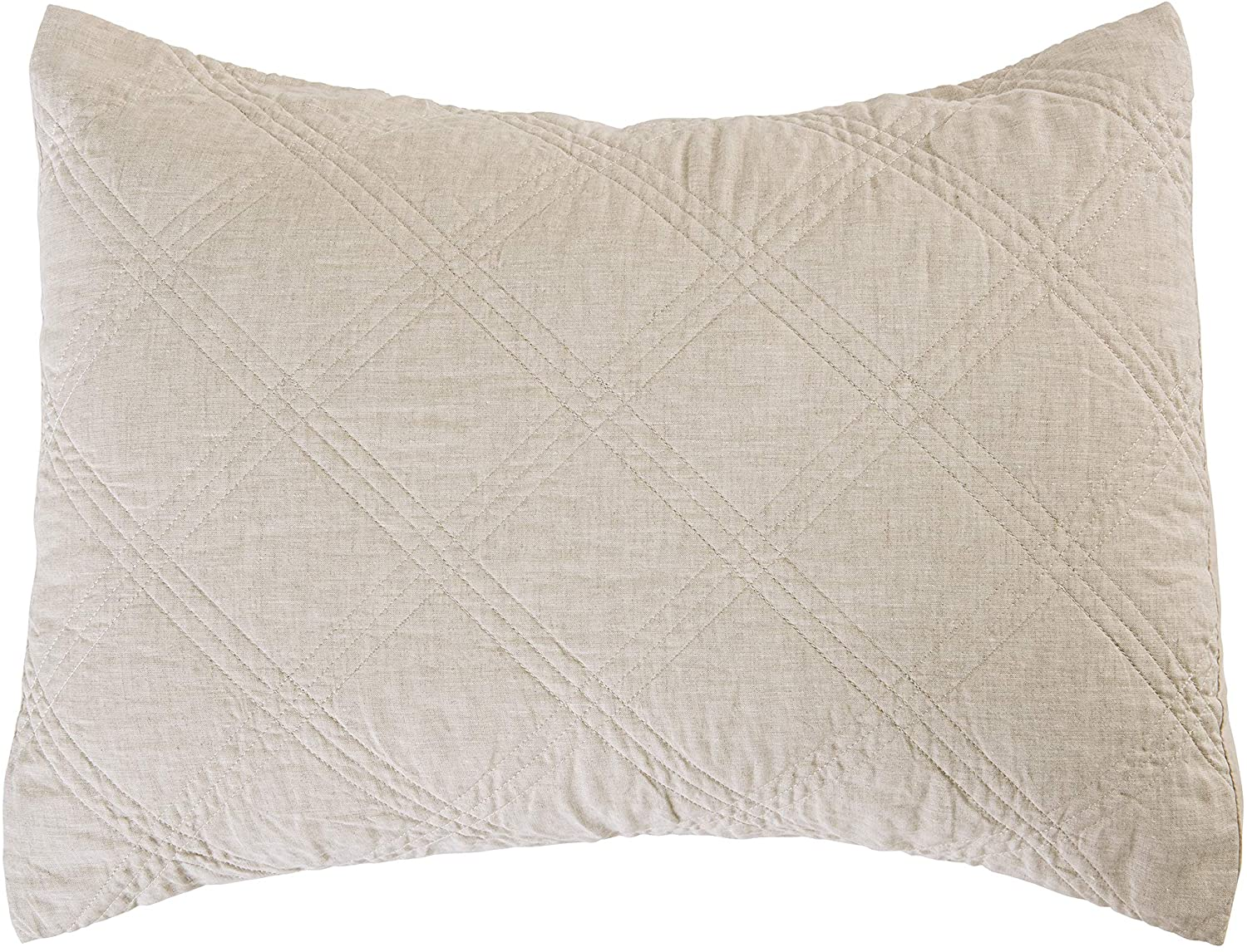 Levtex home - 100% Linen Front/100% Cotton Back - Standard Quilted Sham - Washed Linen - Natural - Sham Size (26 x 20in.)