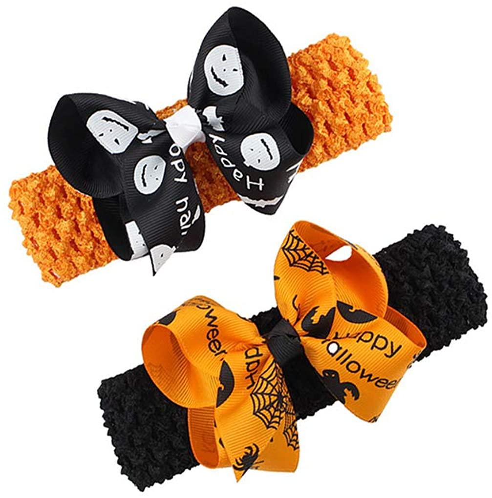 Baby Halloween Headband with Bowknot Pumpkin Halloween Headwear Hair Bows JHH09