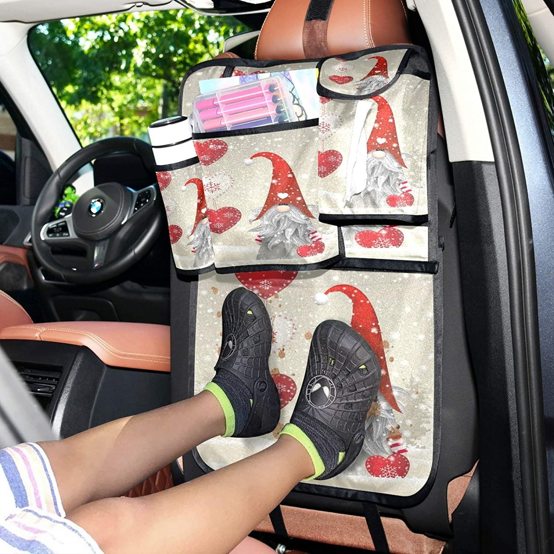WELLDAY Car Backseat Organizer Loving Santa Trunk Storage Travel Accessories Pockets Kick Mats Protector for Kids Toddlers 1PCS
