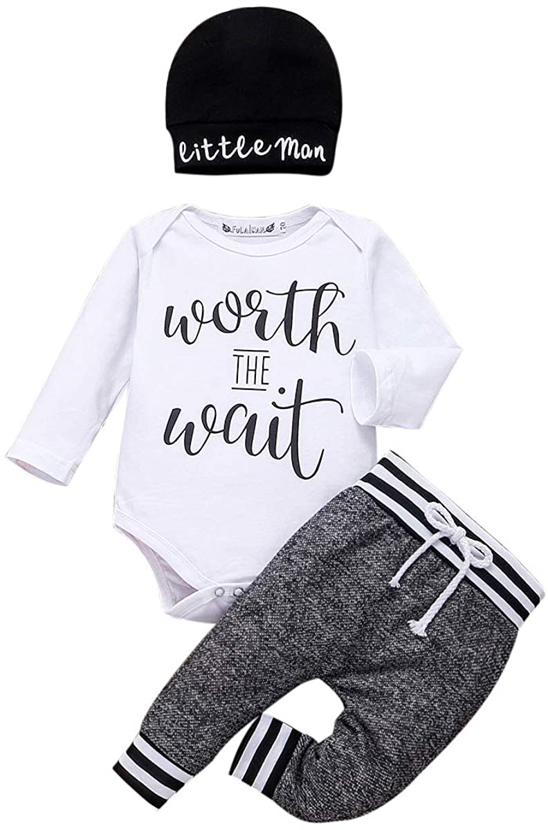 Newbron Baby Boy Girl Casual Clothes Long Sleeve Romper Solid Knitted Tops + Ribbed Drawstring Pants 2Pcs Outfits Set (0-3 Months, Future Ladied Man Current mam's Boy)