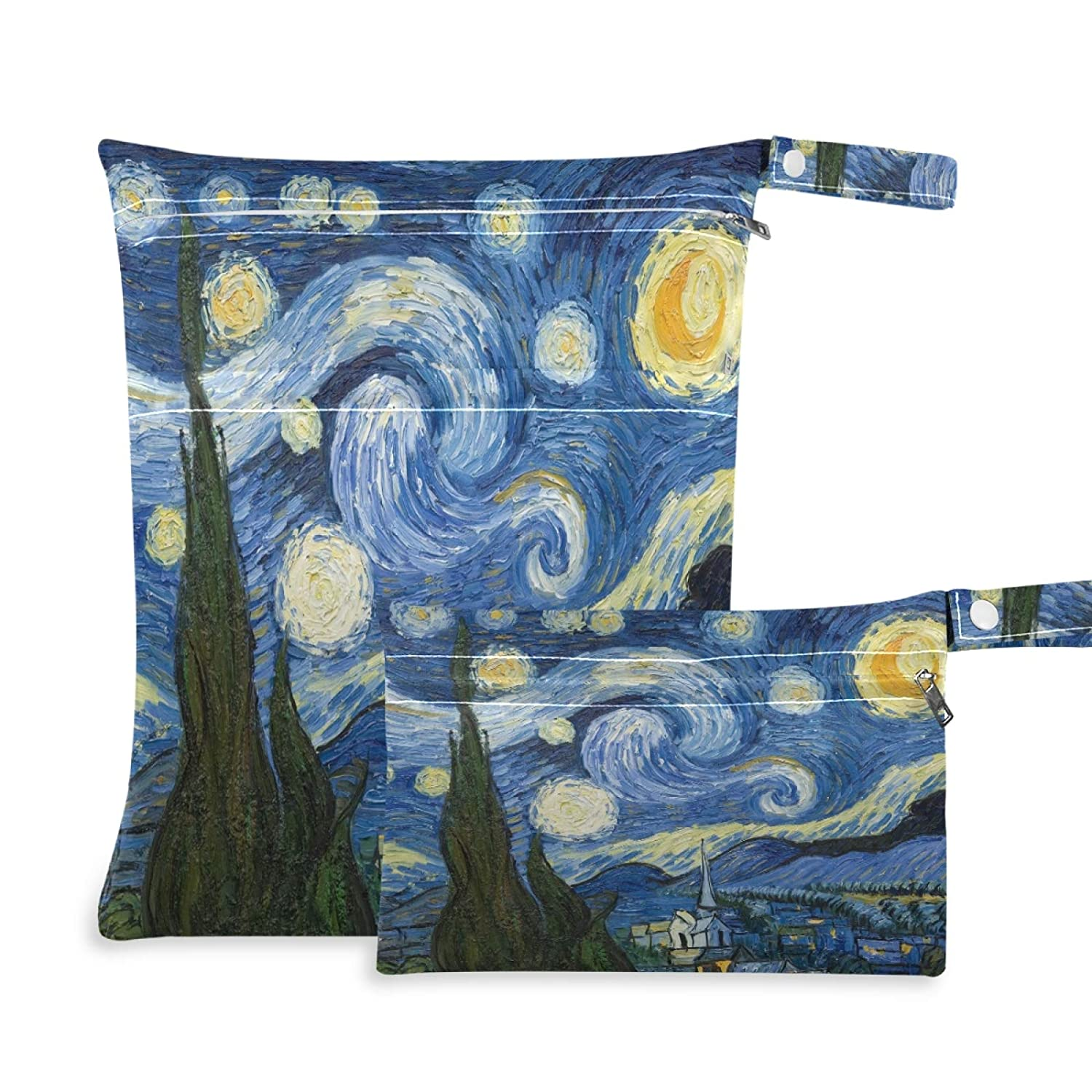 Qilmy 2pcs Starry Night Wet Dry Bag Waterproof Reusable Baby Cloth Diaper Wet Dry Organizer for Travel, Beach, Stroller, Diapers, Wet Swimsuits, Toiletries,