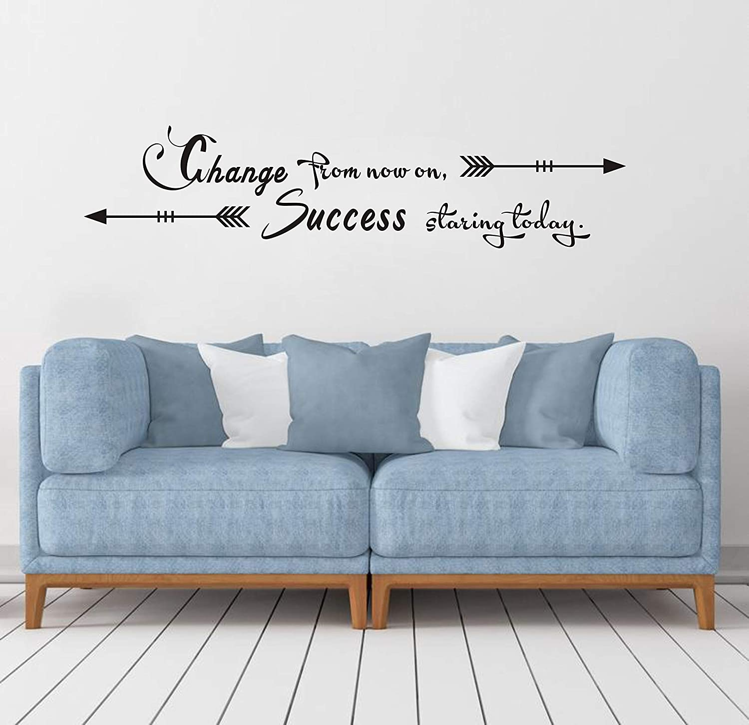 Change from Now on, Success Starting Today Quote Wall Decal Letters Wall Decor Inspirational Wall Stickers Removable Vinyl Wall Art for Home Room DDK27 (Black)